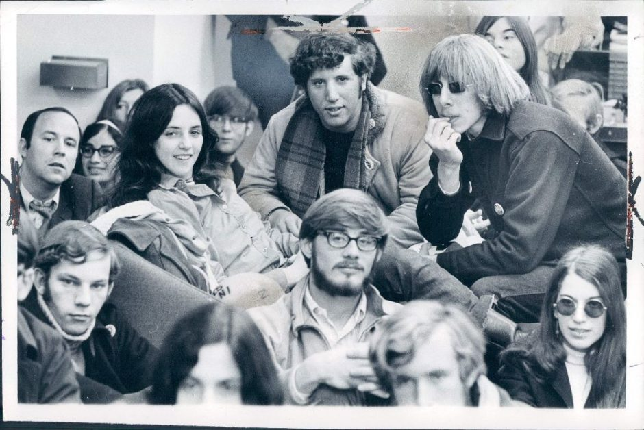 SDS protest: University of Michigan students sit-in at Administration Building, November 5, 1968